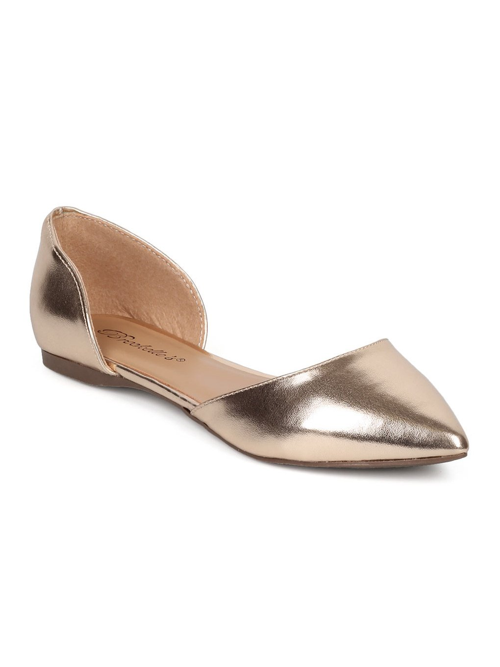 Breckelle's Women Leatherette Pointy Toe Dorsay Flat GG17 B06XJKYX1Q 7 M US|Champagne