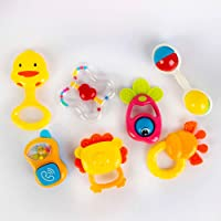 طقم شنطة شخاليل للأطفال الرضع، متعددة الألوان، مختلفة الأشكال