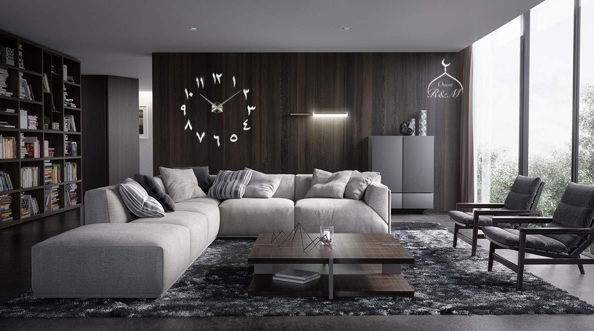 R/&M Orient 3D Arabische Wanduhr gro/ße Moderne Mute lautloses DIY Wohnzimmer Home Office Dekoration Geschenk 2 Jahre Garantie Schwarz