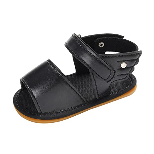 596fb4070 FORESTIME Baby Boys Girls Crib Sandals Leather Shoes Toddler Sneakers Summer  Casual Flat Shoes (Black