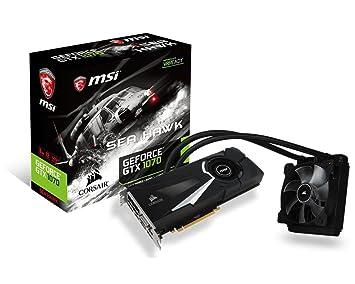 MSI GeForce GTX 1070 Sea Hawk X - Tarjeta gráfica (refrigeración firmada por Corsair, Backplate, 8 GB Memoria GDDR5, VR Ready)