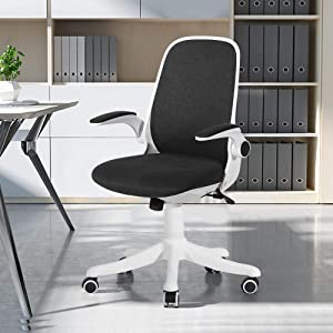 VECELO Home Office Chair with Flip-up Arms and Adjustable Height for Task/Desk Work, Black