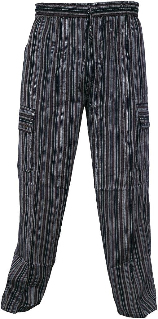 Pantalones sueltos, con cinturilla elástica, de algodón, de verano, para hombre