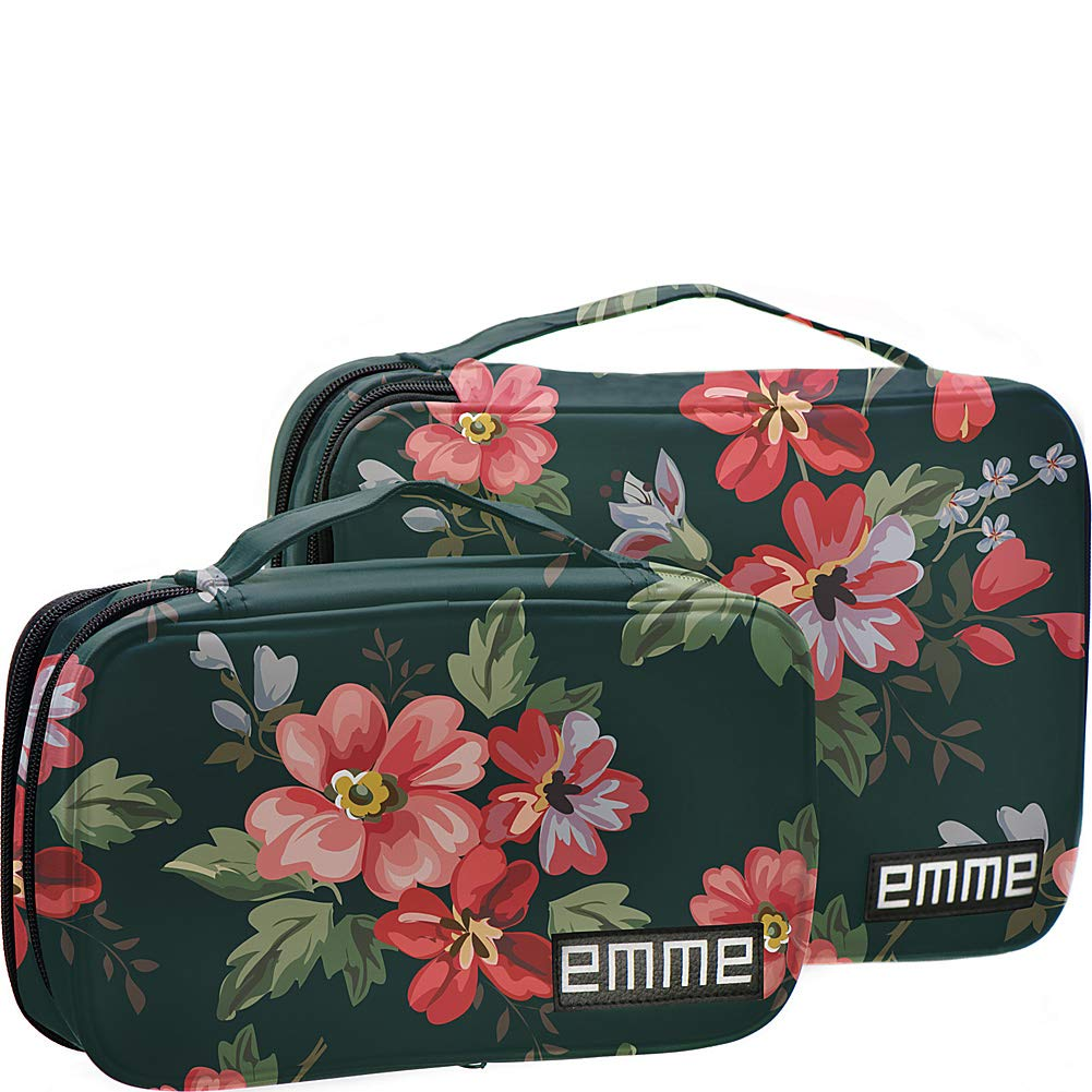 EMME Combination Cosmetic and Toiletries Travel Bags (Green/Red) by EMME
