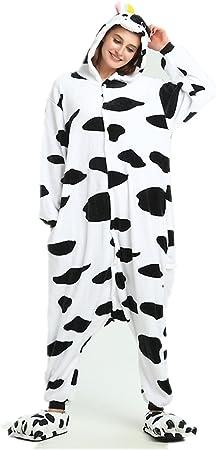 Kenmont Unicornio Juguetes y Juegos Traje Disfraz Animal Ropa de Dormir Cosplay Disfraces Pijamas para Adulto Niños (S: 148-160CM, Vaca)