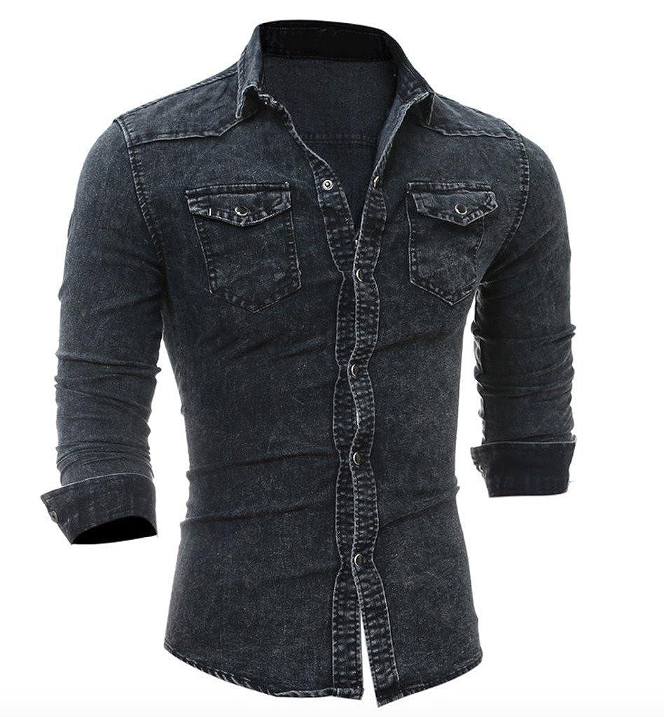 WSLCN - Camisa Casual - Básico - Clásico - Manga Larga - para Hombre