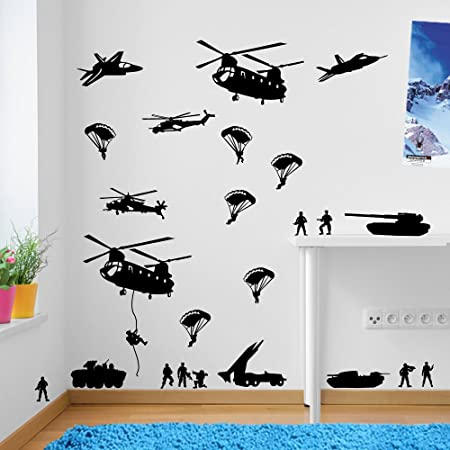 Army men military soldiers helicopter wall decorations window stickers wall decor wall stickers wall art wall
