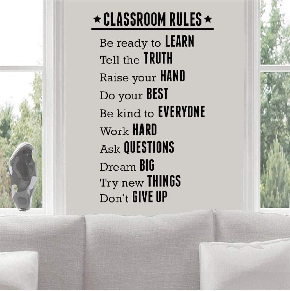 Klassenzimmer Regeln Wandaufkleber Schule Klassenzimmer Dekoration Studie Bildung Motivation Vinyl Wandtattoos Schriftzug Kunst 71X110Cm