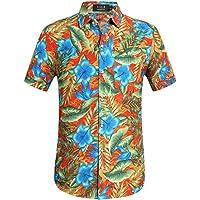 SSLR Men's Floral Button Down Hawaiian Aloha Luau Tropical Casual Shirt