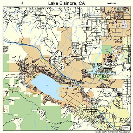lake elsinore ca map Amazon Com Large Street Road Map Of Lake Elsinore California lake elsinore ca map