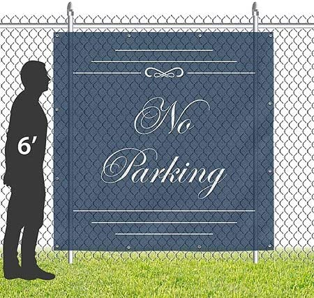 CGSignLab No Parking 8x8 Classic Navy Wind-Resistant Outdoor Mesh ...