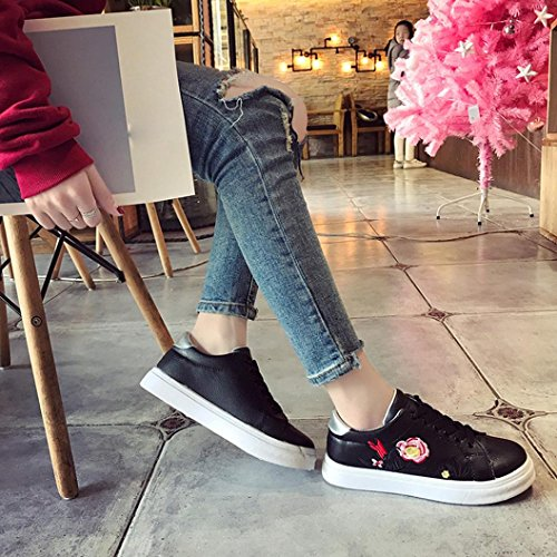 Flat Running Shoes Black Shoes Embroidery Ankle Shoes Flower Sneakers Sport Women White wuayi Small Leisure 0qw1tPO