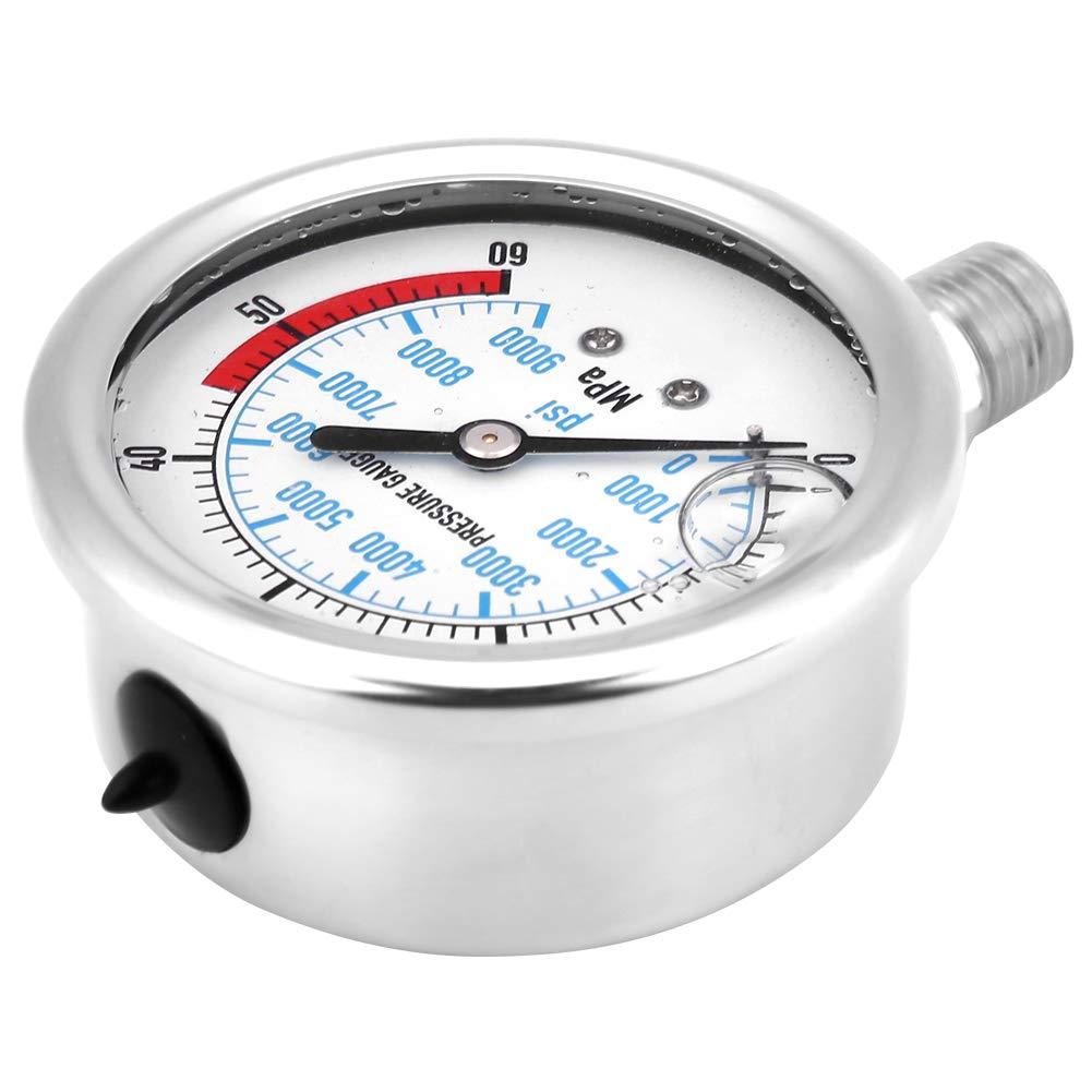 Hydraulic Pressure Gauge 60MPA/9000PSI Base Entry NPT1/4 by Xinwoer