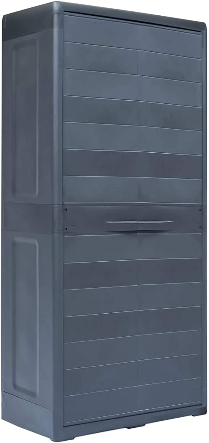 Festnight Garden Storage Cabinet 2 Door with 4 Shelves Patio Lockable Plastic Outdoor Storage Tool Shed Lawn Care Equipment Pool Supplies Storage Organizer 30.7 x 18.1 x 68.9 Inches (W x D x H)