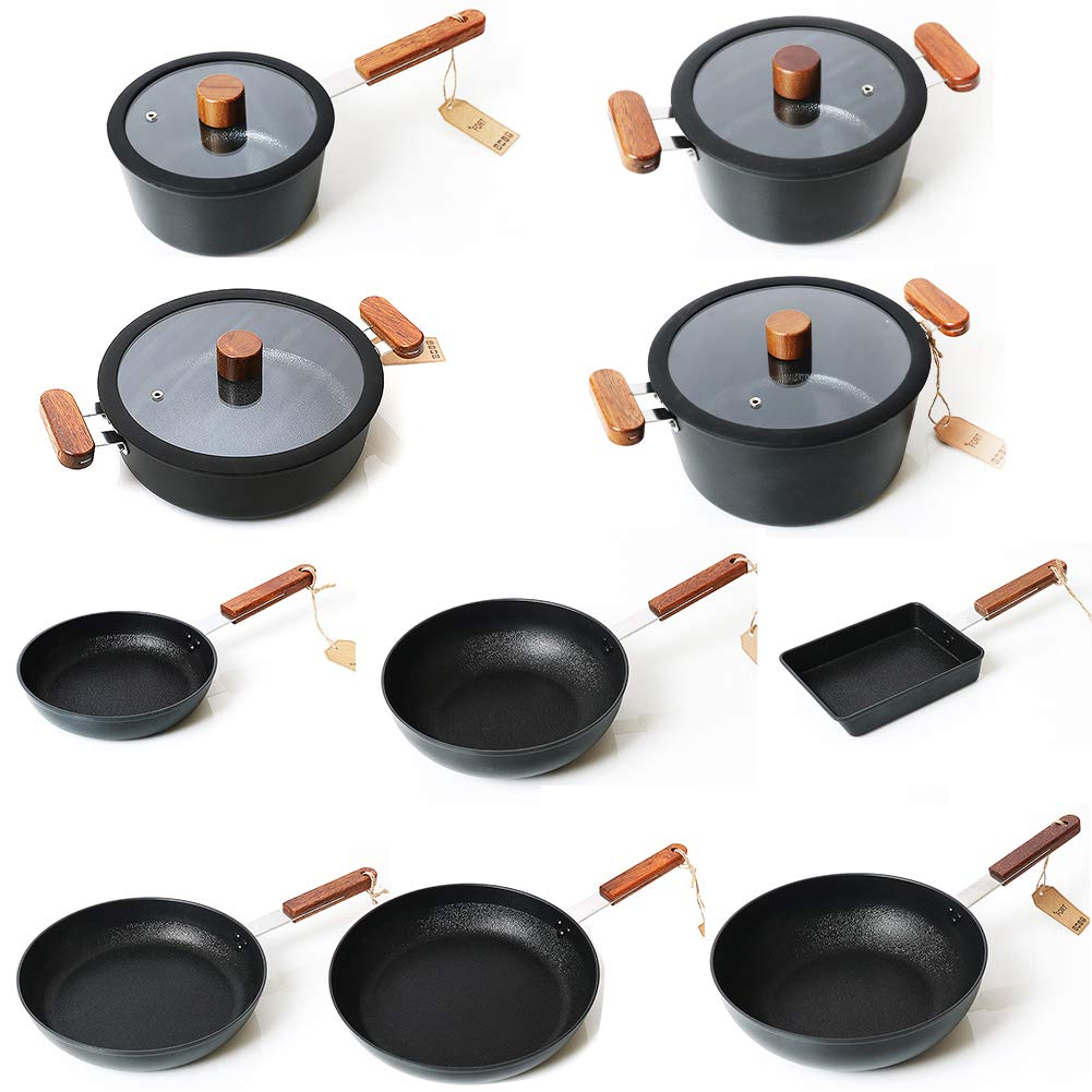 Fort Ceramic Coated Stick Resistant Aluminum Cookware, Induction Available, Set of 10, 14 Pieces, Black