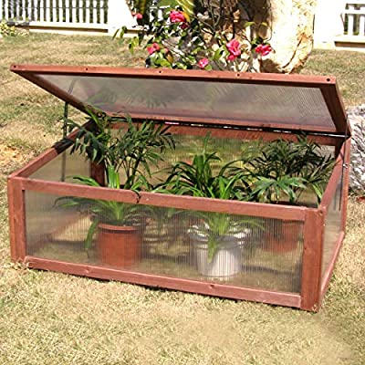LHONE Garden Portable Green House Wooden Cold Frame Raised Plants Bed Protection Outdoor for Winter by WA