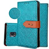Galaxy S5 Wallet Case,S5 Purse Case,Auker 3 Card Holder Vintage Book Leather Wallet Case Magnetic Closure Folio Flip Full Body Cover with ID License Card Slot&Strap for Samsung Galaxy S5 (Blue)