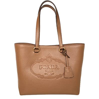 4b25bbba67c1 ... usa prada vit daino logo leather shopping tote bag 1bg100 caramel beige  d824e 3df1b