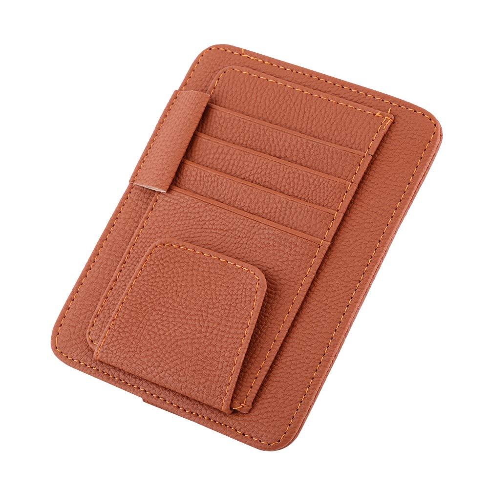 Auto Interior Accessories Pocket Organizer Card Storage Glasses Holder Beige Car Sun Visor Organizer