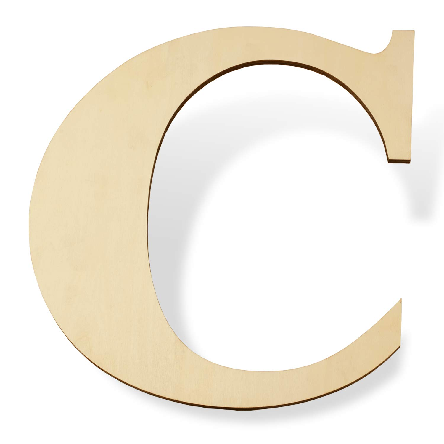 """12 inch Wooden Letters C - Blank Wood Board, Wood Letters for Walls Decor, Party, DIY Craft Projects (12"""" - 1/4"""" Thick, C)"""