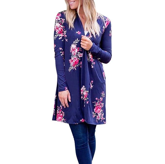 DOLDOA Feitong Mujeres Boho Imprimir floral falda Kimono Cardigan Top cubrir hasta la blusa (S