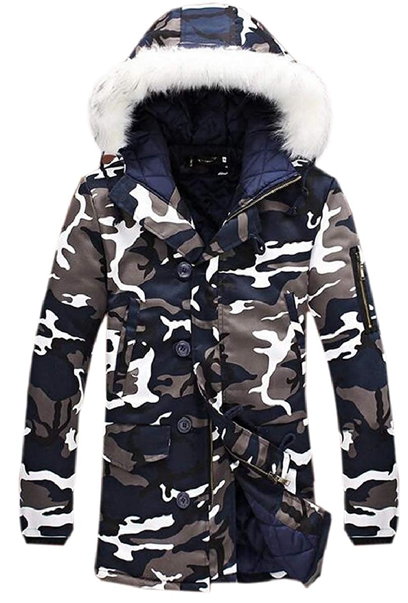 FLCH+YIGE Mens Mid Long Linen Cotton Camouflage Printed Hood Fur Collar Simple Plus-Size Winter Jackets