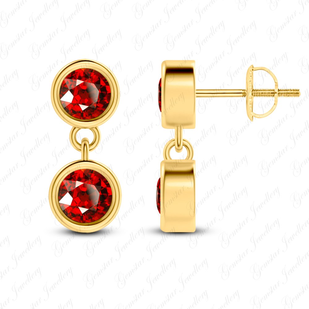Gemstar Jewellery 18K Yellow Gold Plated Round Shape Red Garnet Engagement Dangle Bridal Earrings