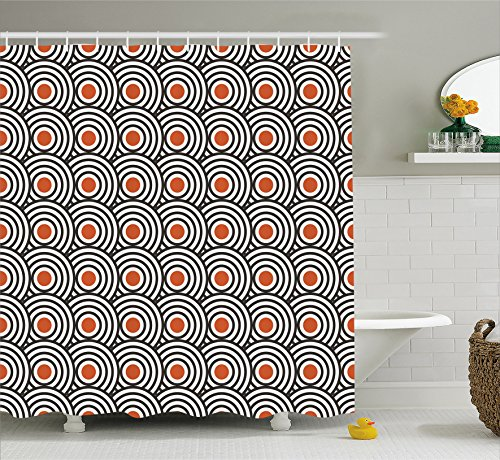 Ambesonne Modern Art Shower Curtain, New Age Retro Minimalist Concentric Spiral Vortex Abstract Work of Art, Fabric Bathroom Decor Set with Hooks, 75 Inches Long, Orange Charcoal Grey