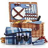 VonShef Deluxe 2 Person Traditional Wicker Picnic Basket Hamper with Cutlery, Plates, Glasses, Tableware & Fleece Blanket For Sale