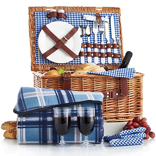 VonShef Deluxe 2 Person Traditional Wicker Picnic Basket Hamper with Cutlery, Plates, Glasses, Tableware & Fleece - Deluxe Hamper