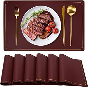 WEHVKEI Leather Placemats, Wire Red Placemats, Wipeable Waterproof Non Slip Placemats, Dark RedChristmas Table Mats Set of 6, Rectangle Easy Clean Placemats, Place Mats for Home Kitchen Dining Table