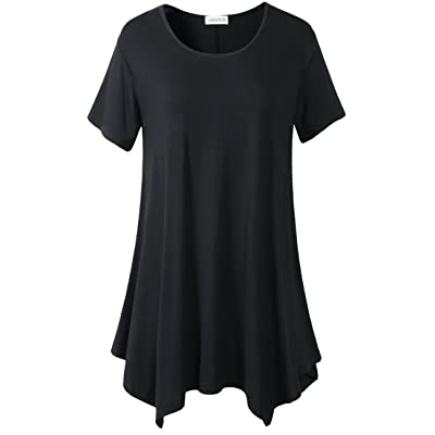 LARACE Womens Swing Tunic Tops Loose Fit Comfy Flattering T Shirt: Clothing