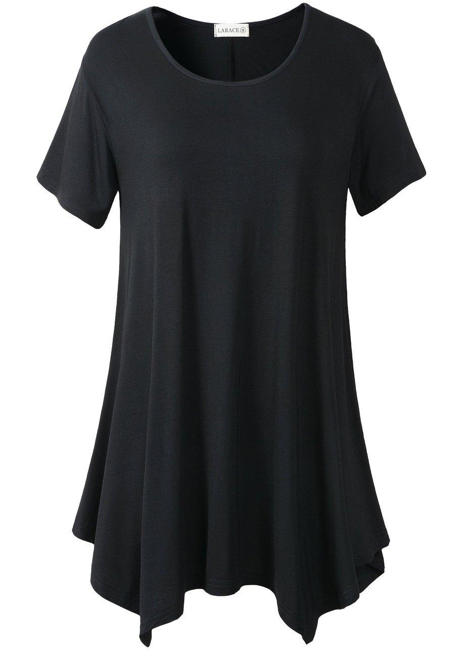 LARACE Womens Swing Tunic Tops Loose Fit Comfy Flattering T Shirt (XL, Black)