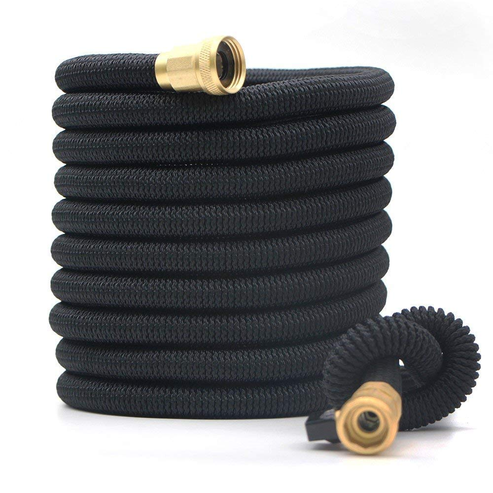 Podura Garden Hose 25Ft Leakproof Lightweight Expandable Water Hose Durable Double Latex Core 3/4'' Solid Brass Fittings,Free Nozzle for Car Washing,Garden Watering, Pets Showering