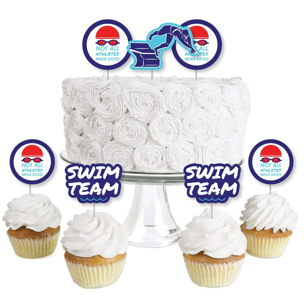 Making Waves - Swim Team - Dessert Cupcake Toppers - Swimming Party or Birthday Party Clear Treat Picks - Set of 24