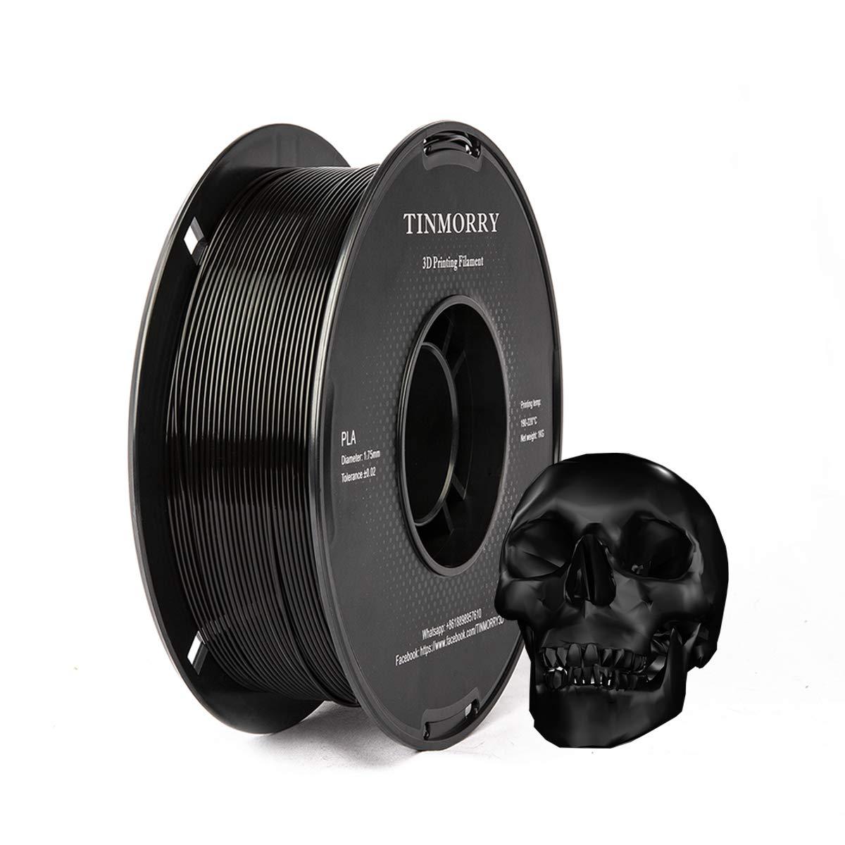 TINMORRY PLA Filament 3D Printing Materials for 3D Printer 1 Spool PLA Filament 1.75mm 1kg Black