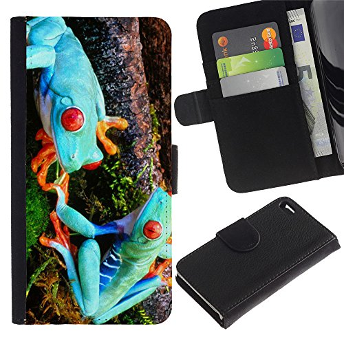 OMEGA Case / Apple Iphone 4 / 4S / Funny Blue Alien Frogs / Cuir PU Portefeuille Coverture Shell Armure Coque Coq Cas Etui Housse Case Cover Wallet Credit Card
