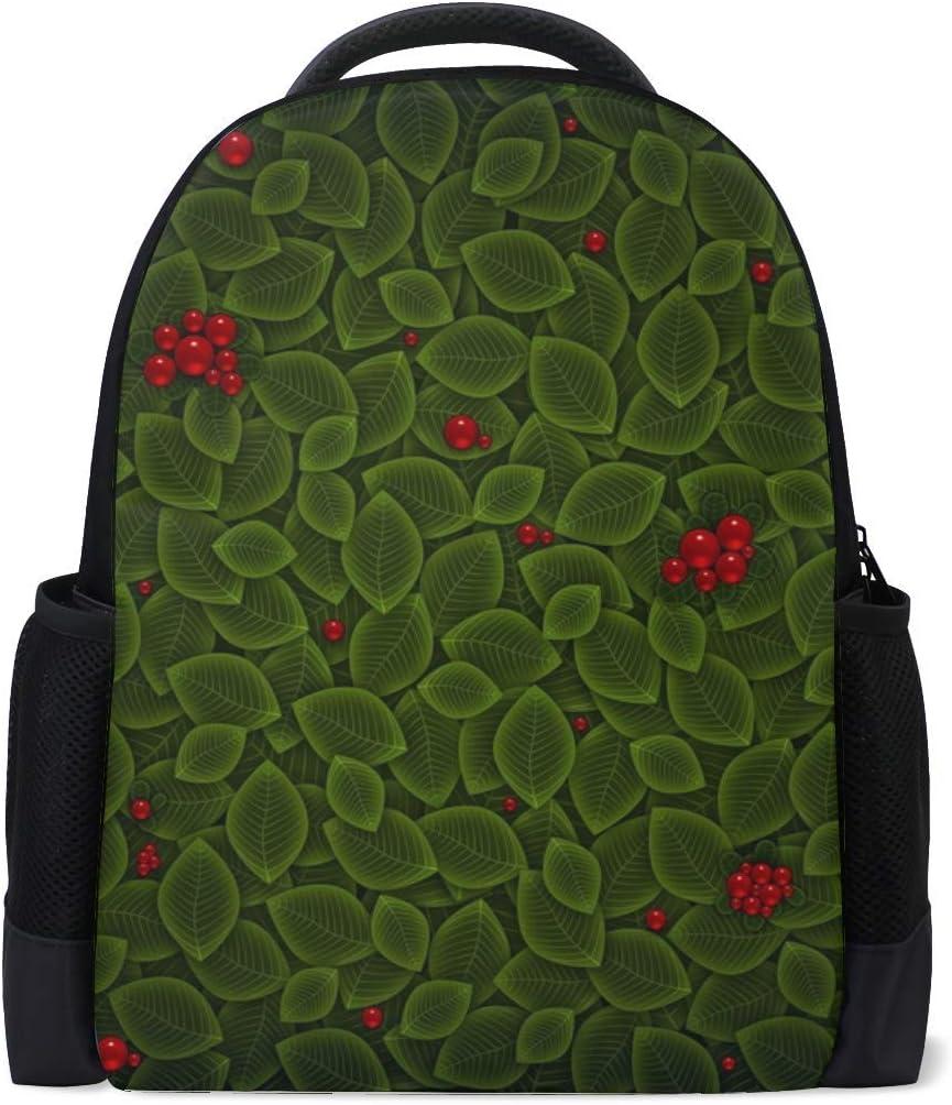 Minimalism Vector Leaves Berries Bookbag School Backpack Luggage Travel Sport Bag