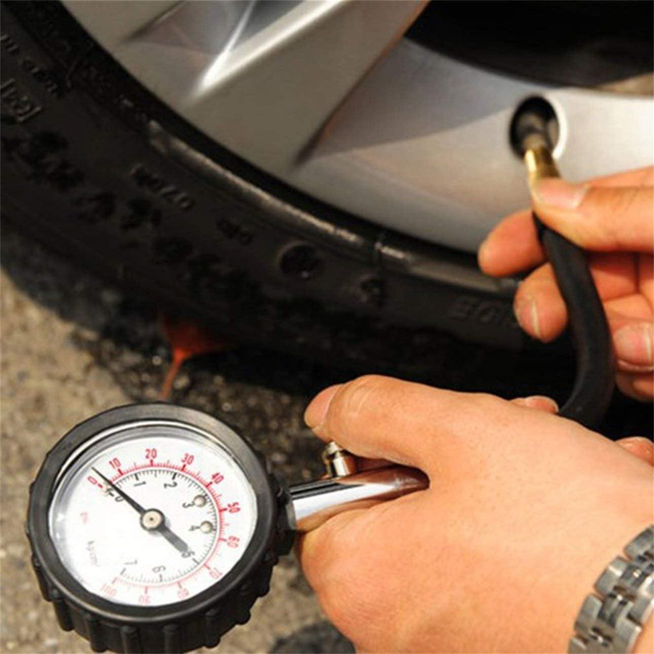 Ballylelly Medidor Medidor de presi/ón de neum/áticos 0-100PSI Auto Car Bike Motor Medidor de presi/ón de Aire del neum/ático Medidor Sistema de monitoreo del probador de veh/ículos Dial Meter