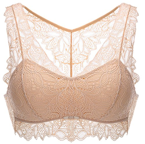 BRABIC Girls Bralettes Top Bras Padded Lace Trim Overlay Pullover Racerback (One Size(Fits A and B Cup), Beige)