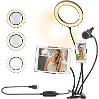 Lampa pierścieniowa do selfie z 2 uchwytami na telefon komórkowy 1 stojak na mikrofon 20 cm LED pierścień światło z…
