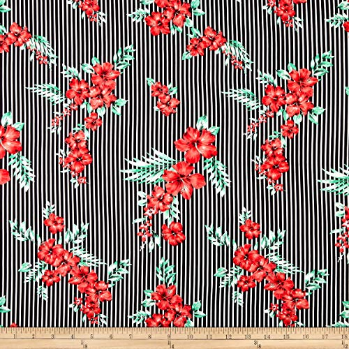 (Fabric Merchants Double Brushed Poly Jersey Knit Tropical Stripes Fabric, Black/Red, Fabric By The)