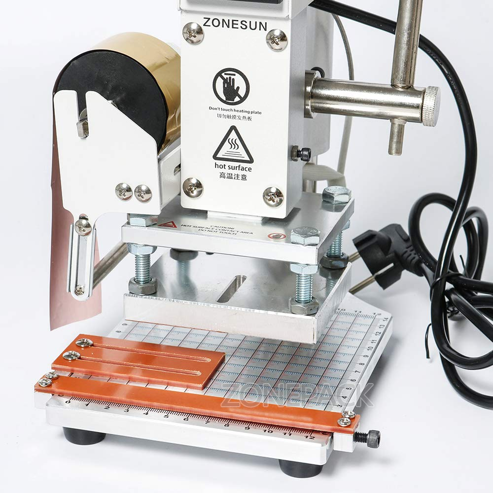 ZONEPACK Hot Foil Stamping Machine 810cm Digital Embossing Machine Manual Tipper Stamper for PVC Leather Pu and Paper Stamping with Paper Holder by ZONEPACK (Image #7)