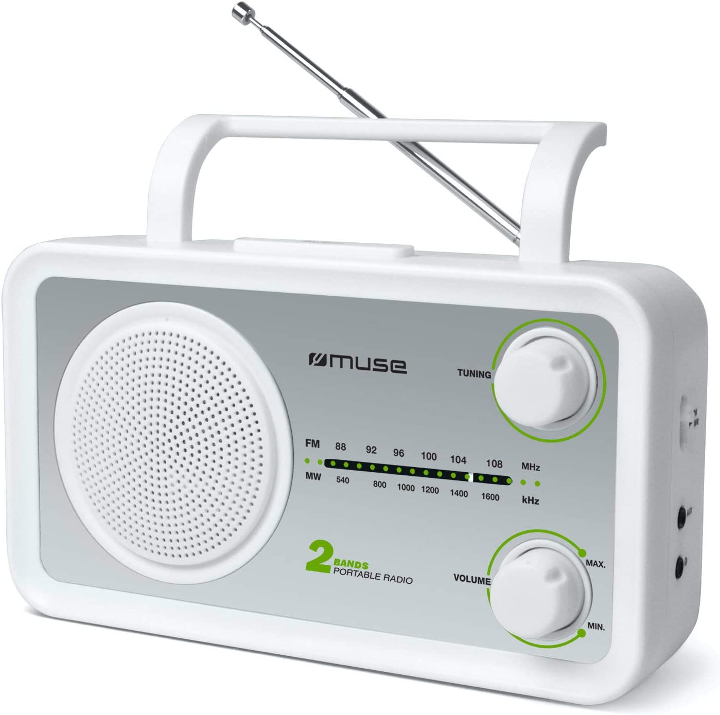 Port/átil, Anal/ógica, FM,MW, Plata, Blanco, Mon/ótono, Giratorio Muse M-06 SW Radio