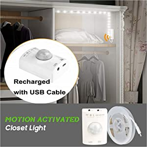 Amagle LED Motion Sensor Strip Closet Light USB Rechargeable Dual Mode Motion Activated Closet Under Bed Lighting Cabinet Stair Night Lights with Sensor for Bedroom Kitchen Nature White 4000K