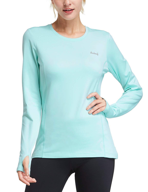 BALEAF Women's Thermal Fleece Tops Long Sleeve Running Shirt with Thumbholes Zipper Pocket Aqua Size XL by BALEAF