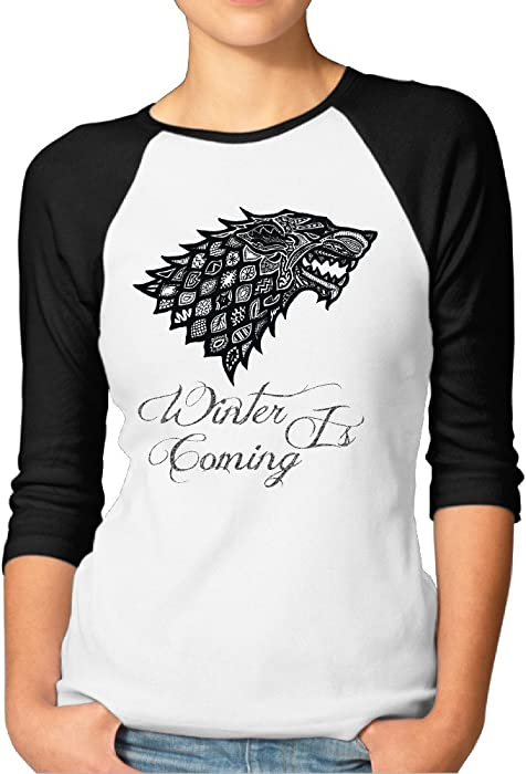 a89c9d9097 Game Of Thrones Winter Is Coming Women's Round Neck 3/4 Sleeve Baseball  Raglan Athletic
