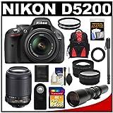 Nikon D5200 Digital SLR Camera and 18-55mm G VR DX AF-S Zoom Lens (Black) with 55-200mm VR + 500mm Telephoto Lens + 32GB Card + Backpack + Tele/Wide Lenses + Monopod + Accessory Kit, Best Gadgets