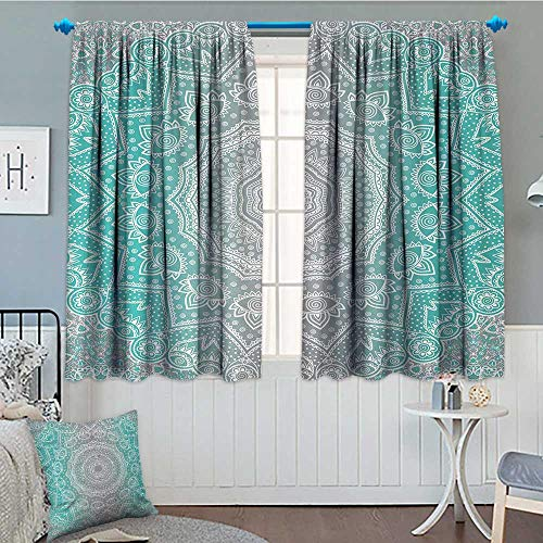 (Anniutwo Grey and Turquoise Window Curtain Fabric Primitive Spiritual Essence and Universe Harmony Mandala Ombre Art Drapes For Living Room 63