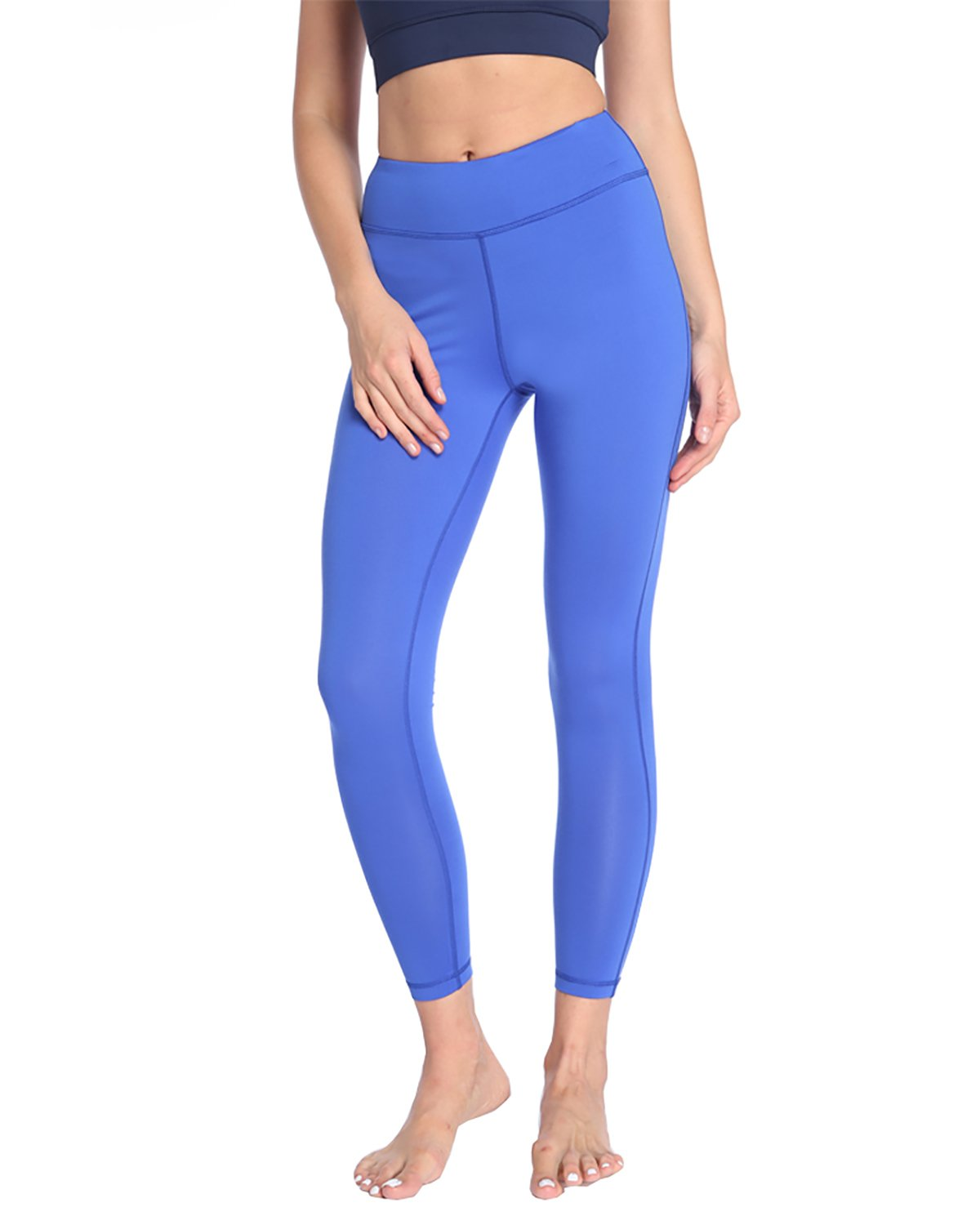 X-HERR Womens Compression Workout Yoga Leggings Power Flex Exercise Fitness Yoga Pant with High Waist Pockets (Blue,L)